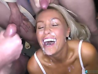 bukkake, blowjob, creampie, facial, pov, rimming