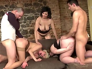 Mature MILFs group fucked by young..